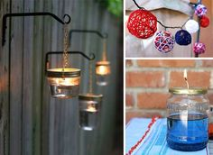 Instead of buying party lights and tiki torches for an after-dark outdoor affair, make your own lighting such as oil lamps, string lights, citronella torches.
