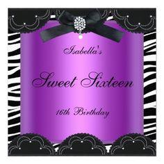 Sweet 16 Birthday Party Purple Black White Zebra Personalized Announcement