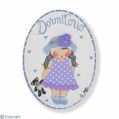 Mini placa de puerta artesanal: Niña con sombrero (ref. 12148-02)