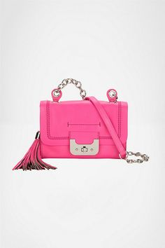 Diane Von Furstenberg Mini Harper Bag Neon Leather in Pink (neon pink)