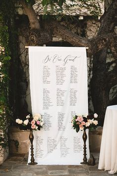 Calligraphy Seating Chart Banner by Ettie Kim Photo by Studio Castillero Wedding Reception Seating, Seating Chart Wedding, Wedding Signage, Wedding Rehearsal, Seating Charts, Reception Decorations, Wedding Table, Ikea Wedding, Rooftop Wedding