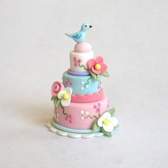 Miniature Lovely Tiered Cake with Blossoms & Bluebird OOAK by C. Rohal