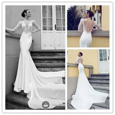 Find More Wedding Dresses Information about sequins beads see through white mermaid open back long sleeve wedding dress 2014 deep V Neck chiffon bridal dresses NT 148,High Quality dress clip,China dress wrestling Suppliers, Cheap dress pumps from Suzhou Amy wedding dress co., LTD on Aliexpress.com