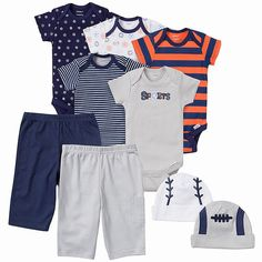 Make life easier for mom with this 9-piece set for baby boy! This set includes the essentials: 5 Onesies® brand bodysuits, 2 pairs of pants, and 2 caps. 100% cotton fabric keeps baby boy cool and comfy while time-saving design features like higher-in-the-front snaps make changing simple. Perfect for gift-giving!