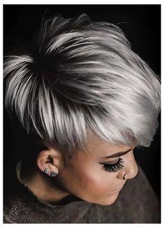 Short Platinum Blonde Hair, Short Silver Hair, Silver Blonde Hair, Short Grey Hair, Short Hair Cuts, Short Hair Styles, Black Hair, Short Blonde Haircuts, Short Ladies Hairstyles