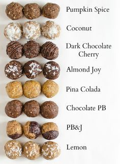 8 perfect Energy Bites Recipes all in one post!  I wonder what the ratios are, because these look good!