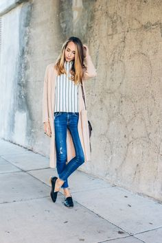 casual winter outfit, striped tee, long cardigan, loafers — via @TheFoxandShe