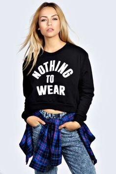 Roanne Nothing To Wear Cropped Long Sleeve Sweat Top at boohoo.com