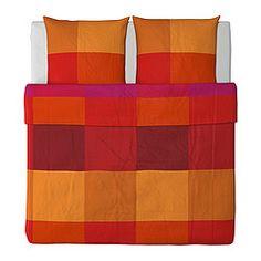 IKEA - BRUNKRISSLA, Bettwäscheset, 3-teilig, 240x220/80x80 cm, , Verdeckte Druckknöpfe am Bezug verhindern, dass die Decke herausrutscht.