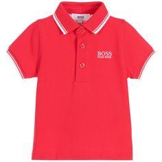 5a48982b BOSS Baby Boys Red Cotton Piqué Polo Shirt Orange Polo Shirt, Pique Polo  Shirt,