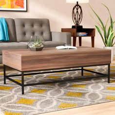 Ivy Bronx Reda Lift-Top Coffee Table with Storage Top Color: Dark Oak Coffee Table Decor Living Room, Decorating Coffee Tables, Living Room Chairs, Home Living Room, Living Room Decor, Lift Top Coffee Table, Cool Coffee Tables, Coffee Table With Storage, Mid Century Modern Living Room
