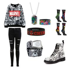 """Marvel Fangirl Outfit"" by adri514 ❤ liked on Polyvore featuring Dr. Martens and Miss Selfridge"