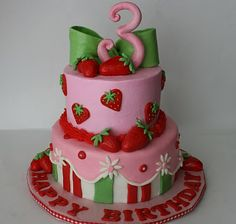 Cute strawberry shortcake-cake