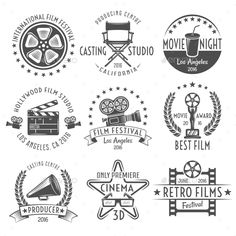 Buy Movies Black White Emblems Set by VectorPot on GraphicRiver. Movies black white emblems set with reel chair clapper megaphone award projector and inscriptions isolated vector ill. Movie Reels, Film Reels, Film Casting, Retro, Film Logo, Movie Producers, Movie Black, Movie Camera, Stock Image