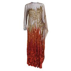 Gladys Knight's Sequin Embroidered Flame Gown by Nolan Miller