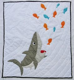Nautical themed shark crib size quilt bedding item.  *********************** - Ready to ship - Machine washable and tumble dry low heat - Crib