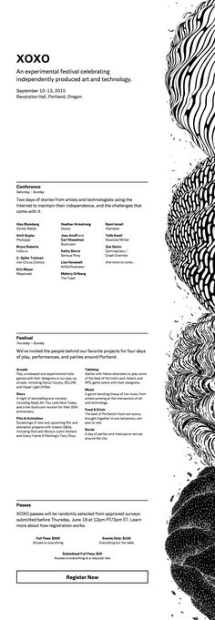 Responsive One Pager for 'XOXO' - an independent art and technology festival held in Portland, Oregon each year. Nice touch with the side illustration transforming into a header piece on mobile.