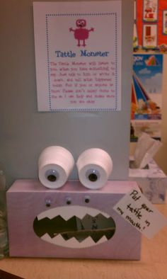 Tattle box monster implemented from PINTEREST pinners.  THANK YOU!!!  When kids start to tell I simply say tell the monster.