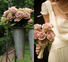 dusty pink vintage roses gold ivory wedding flowers - Google Search