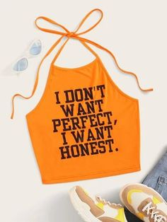 To find out about the Neon Orange Slogan Graphic Halter Crop Top at SHEIN, part of our latest Tank Tops & Camis ready to shop online today! Crop Top Halter, Cropped Tank Top, Crop Tops, Tank Tops, Romwe, Top Pattern, Printed Tees, Pop Fashion, Orange