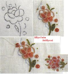 ç Pearl Embroidery, Tambour Embroidery, Silk Ribbon Embroidery, Embroidery Fashion, Bead Embroidery Tutorial, Bead Embroidery Patterns, Hand Embroidery Designs, Bordados Tambour, Beaded Flowers Patterns