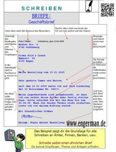 Formeller Brief Schreiben German Grammar Organisation