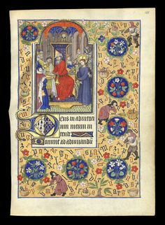 Book of Hours of Marguerite d'Orléans (1406–1466), folio 135r., miniature of Pilate washing his hands of the fate of Jesus. Around, peasants collecting letters of alphabet. CoA of Brittany and Orleans in the Initial letter.
