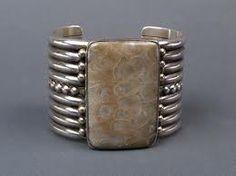 Mike Bird Romero fossilized coral and silver cuff