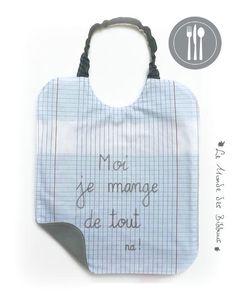 Bavoir de cantine en coton motif cahier d écolier doublé coton gris  personnalisé avec écriture fabc28b62a9