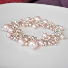 Freshwater Pink Pearl Chunky Cluster Bracelet.
