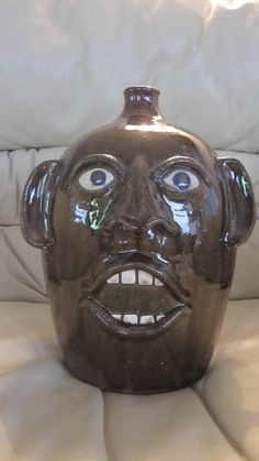 Joe Reinhardt Pottery Large Face Jug Mint Cobalt Blue Eyes