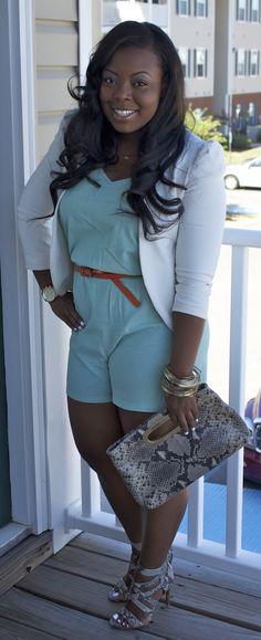 "Romper is proper with blazer  #curvy #thick  ""if you follow my Curvy Girl's Spring/Summer Closet, make sure to follow my Curvy Girl's Fall/Winter Closet.""   http://pinterest.com/blessedmommyd/curvy-girls-fallwinter-closet/"