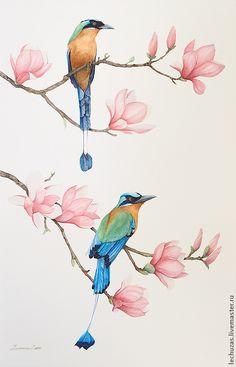 Купить или заказать Акварель Цветы и птицы Рис.1 в интернет-магазине на Ярмарке Мастеров. На картине изображена цветущая магнолия и два мотмота (Motmot). Картина была выполнена на заказ и входит в композицию из двух рисунков.