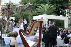 Chuppah side view with harpist Esther Underhay at Boca Raton Marriott Hotel with Cantor Debbi #Floridawedding