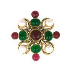 Chanel Poured Glass and Faux Pearl Crest Brooch
