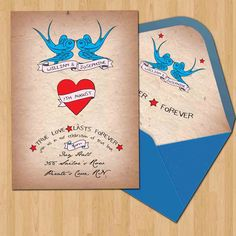 Tattoo/Vintage Wedding Invitation and envelope slip DIY (printable). $20.00, via Etsy.