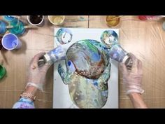 (18) ( 234 ) acrylic pour with primary elements...ocean theme. - YouTube