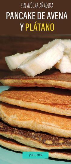 Recipe Pancake of Oatmeal with Banana. - Enjoy food and. Avena Recipe, Crepes And Waffles, Comidas Light, Healthy Snacks, Healthy Recipes, Sin Gluten, Creative Food, I Love Food, Gastronomia