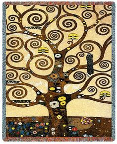 ree of Life by Klimt Throw. 100% Cotton Decorative Throw Blankets by Famous Artists. Klimt's 'Tree of Life' creation is captivating and exciting as a soft 100% cotton throw for the chair, sofa or bed. Some will even hang these throws on the wall, as they are that special. Regardless, wrap this throw around you or someone you care for as a heartwarming gift.