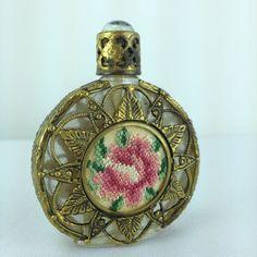 Vintage Petit Point Jeweled Metal Filigree Perfume Bottle Pink Rose