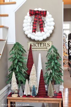 Rustic Tree Forest Entryway Snowball wreath - New Ideas Office Christmas, Plaid Christmas, Christmas Themes, Winter Christmas, Christmas Wreaths, Winter Fun, Christmas Crafts, Christmas Ornaments, Farmhouse Christmas Decor