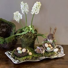 Beatriz Ball VENTO Sasha large decorative silver tray - Beatriz Ball Collection $119.  Shimmering sculptural tray works perfectly for an Easter Centerpiece!