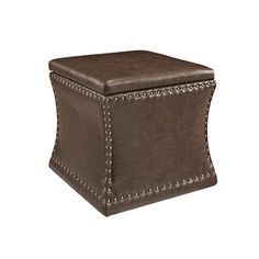 Our sumptuous Westport Tobacco Ottoman is a functional, elegant addition to the home. Fully upholstered in bonded tobacco leather and trimmed with antique brass nailheads, this handsome ottoman has attractive curves, a fully lined interior, and a lift-off top for storage. Offers a place to sit, store and visually satisfy in any room.