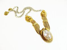 Czech Art Deco Necklace Gold Brass Snake by IfindUseekVintage, $42.50