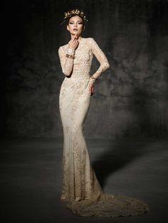 Glamorous Gold Long Sleeved Wedding Dress Bruc from Yolan Cris