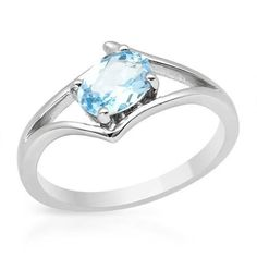 Majestic Silver Ring With Topaz - Size 7 Majestic ring with genuine topaz made of 925 sterling silver. Total item weight 2.4g. Size 7. Gemstone info: 1 topaz, 1.00ctw., with oval shape and light blue color.