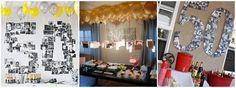 Decoración con globos y collage de 50 años
