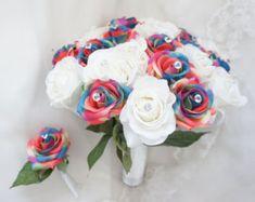 21 arco iris artificial rosas 6 tallos flor Ramos por floralYome