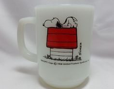 1958 Snoopy Coffee Milk Cup Mug Fire King Anchor Hocking I'M ALLERGIC TO MORNING. What a great nostalgic cup.