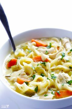 Creamy and healthy chicken noodle soup. #chickennoodlesoup